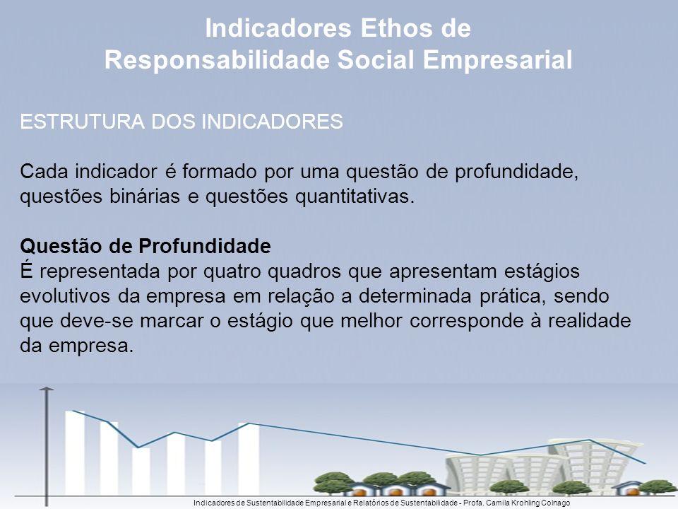 Indicadores de Sustentabilidade Empresarial e Relatórios de Sustentabilidade - Profa. Camila Krohling Colnago ESTRUTURA DOS INDICADORES Cada indicador