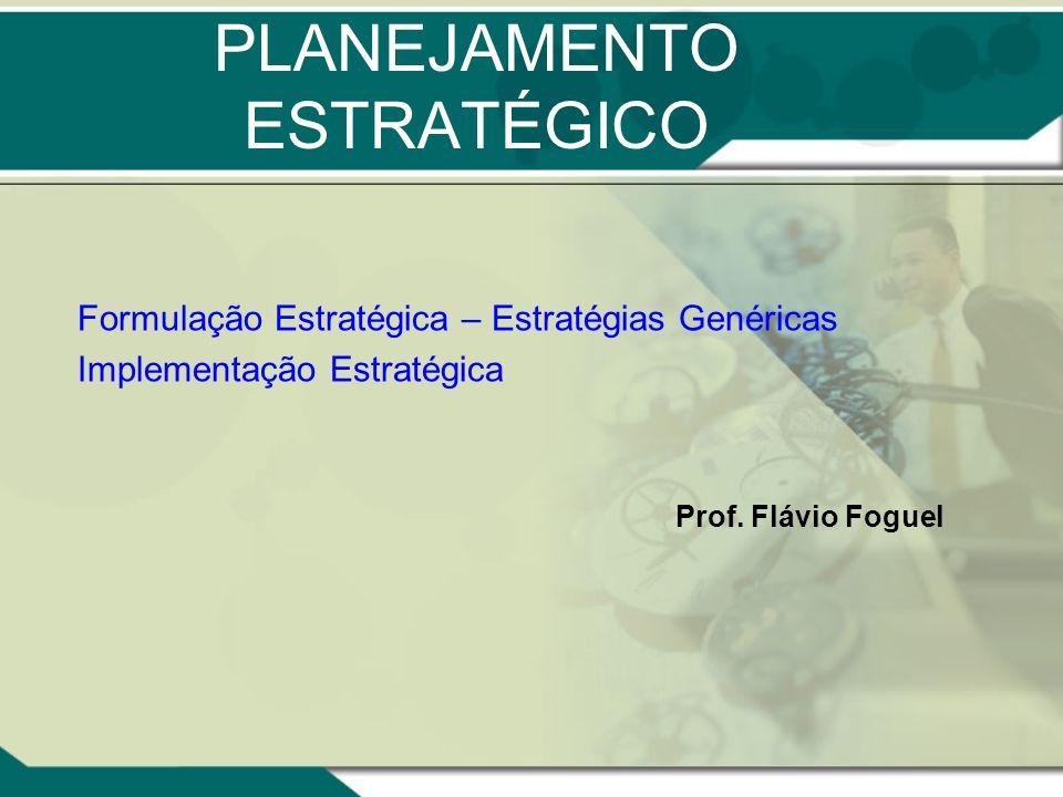 PLANEJAMENTO ESTRATÉGICO Formulação Estratégica – Estratégias Genéricas Implementação Estratégica Prof. Flávio Foguel