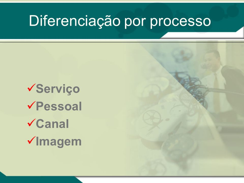 Diferenciação por processo Serviço Pessoal Canal Imagem