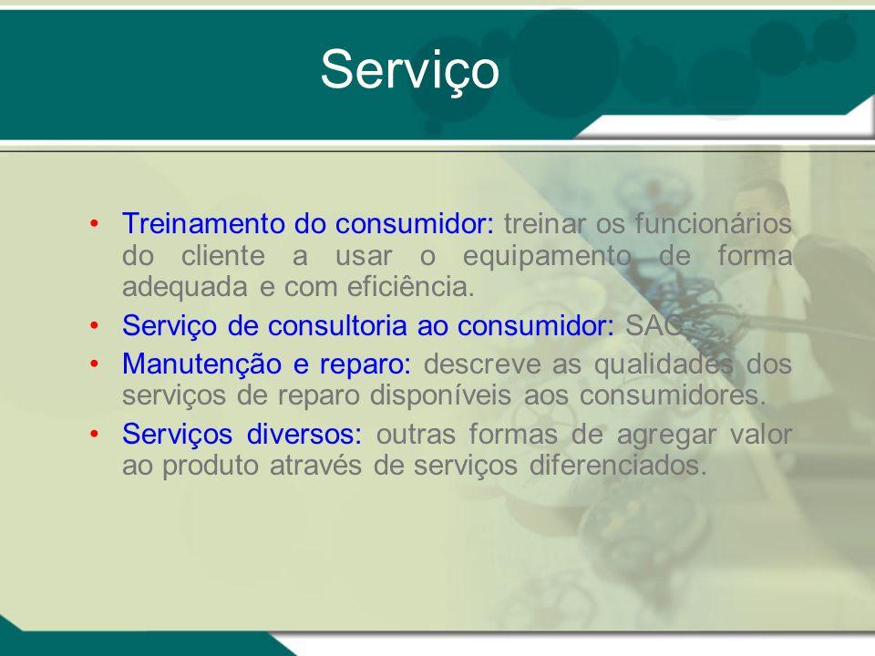 Serviço Treinamento do consumidor: treinar os funcionários do cliente a usar o equipamento de forma adequada e com eficiência. Serviço de consultoria