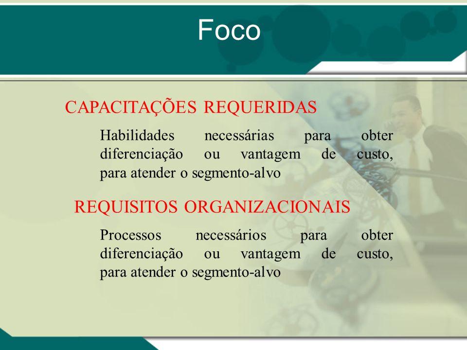 CAPACITAÇÕES REQUERIDAS Habilidades necessárias para obter diferenciação ou vantagem de custo, para atender o segmento-alvo REQUISITOS ORGANIZACIONAIS