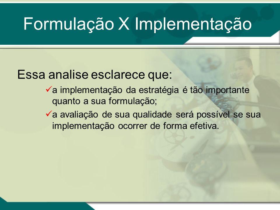 Essa analise esclarece que: a implementação da estratégia é tão importante quanto a sua formulação; a avaliação de sua qualidade será possível se sua