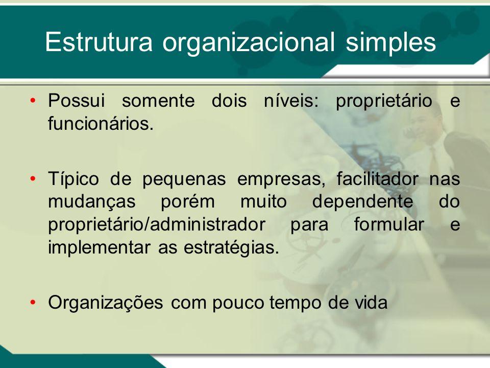 Estrutura organizacional simples Possui somente dois níveis: proprietário e funcionários. Típico de pequenas empresas, facilitador nas mudanças porém