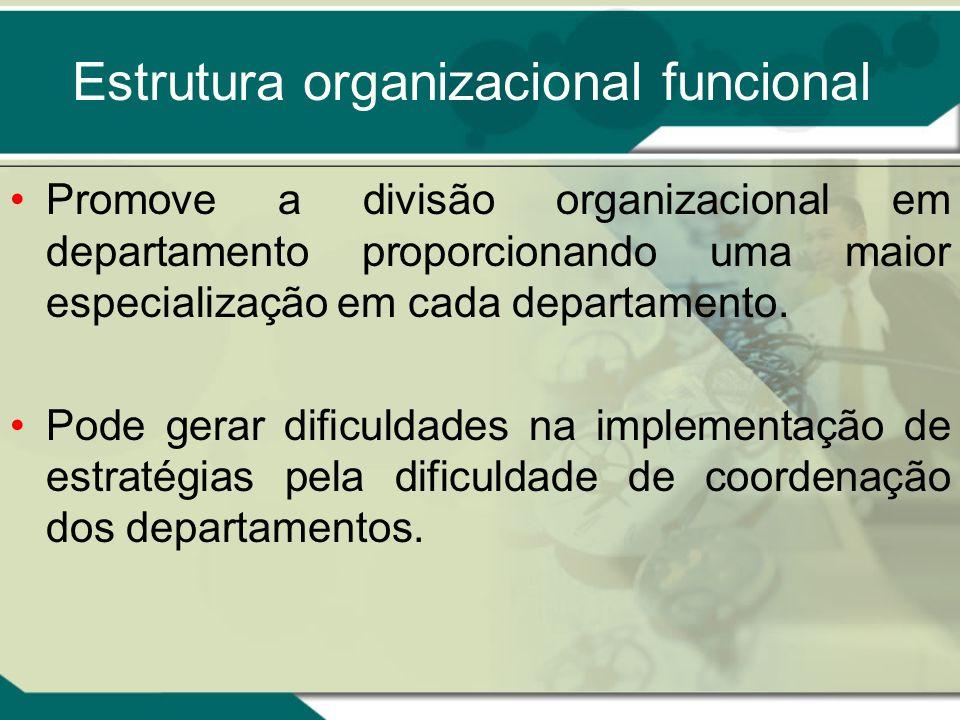 Estrutura organizacional funcional Promove a divisão organizacional em departamento proporcionando uma maior especialização em cada departamento. Pode