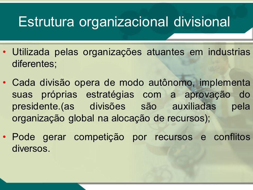 Estrutura organizacional divisional Utilizada pelas organizações atuantes em industrias diferentes; Cada divisão opera de modo autônomo, implementa su