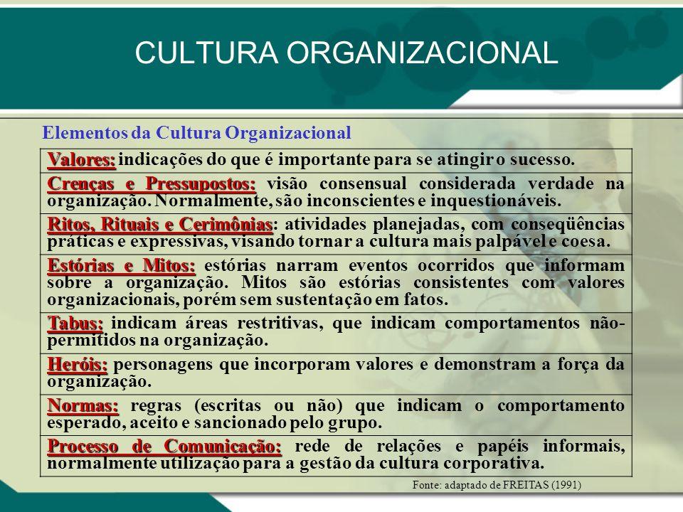 CULTURA ORGANIZACIONAL Elementos da Cultura Organizacional Valores: Valores: indicações do que é importante para se atingir o sucesso. Crenças e Press