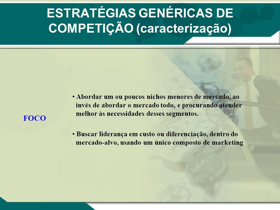 ESTRATÉGIAS GENÉRICAS DE COMPETIÇÃO (caracterização) FOCO Abordar um ou poucos nichos menores de mercado, ao invés de abordar o mercado todo, e procur