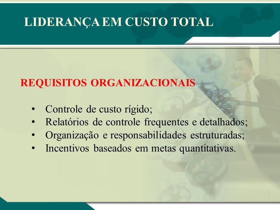 LIDERANÇA EM CUSTO TOTAL REQUISITOS ORGANIZACIONAIS Controle de custo rígido; Relatórios de controle frequentes e detalhados; Organização e responsabi