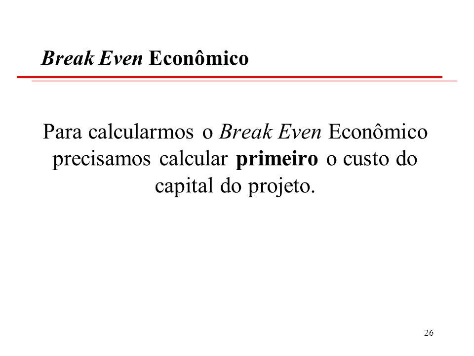 Break Even Econômico Para calcularmos o Break Even Econômico precisamos calcular primeiro o custo do capital do projeto. 26