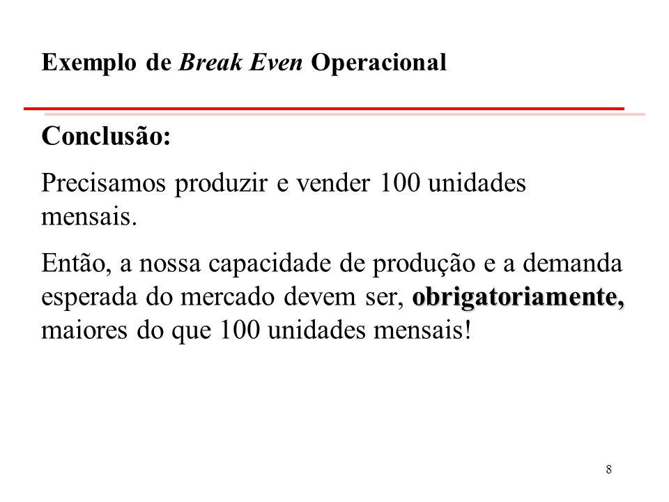 Base Cálculo da Base Tributária Lajir 48.000.000,00 Depreciação15.000.000,00 Base Tributável33.000.000,00 Imposto de Renda 40% 13.200.000,00 Exemplo de Break Even Econômico 19