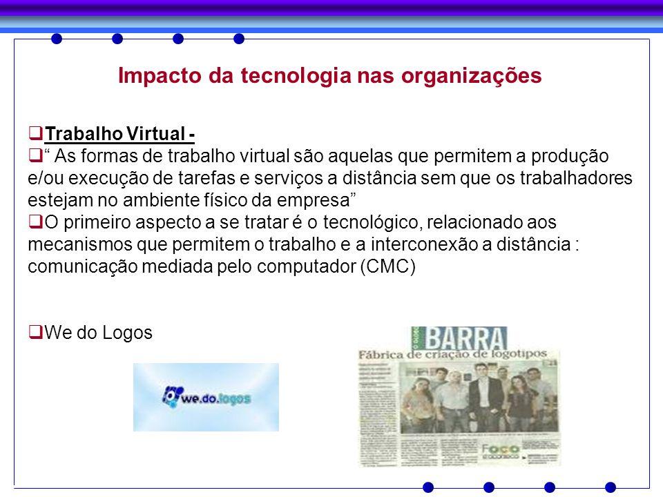 Impacto da tecnologia nas organizações Trabalho Virtual - As formas de trabalho virtual são aquelas que permitem a produção e/ou execução de tarefas e