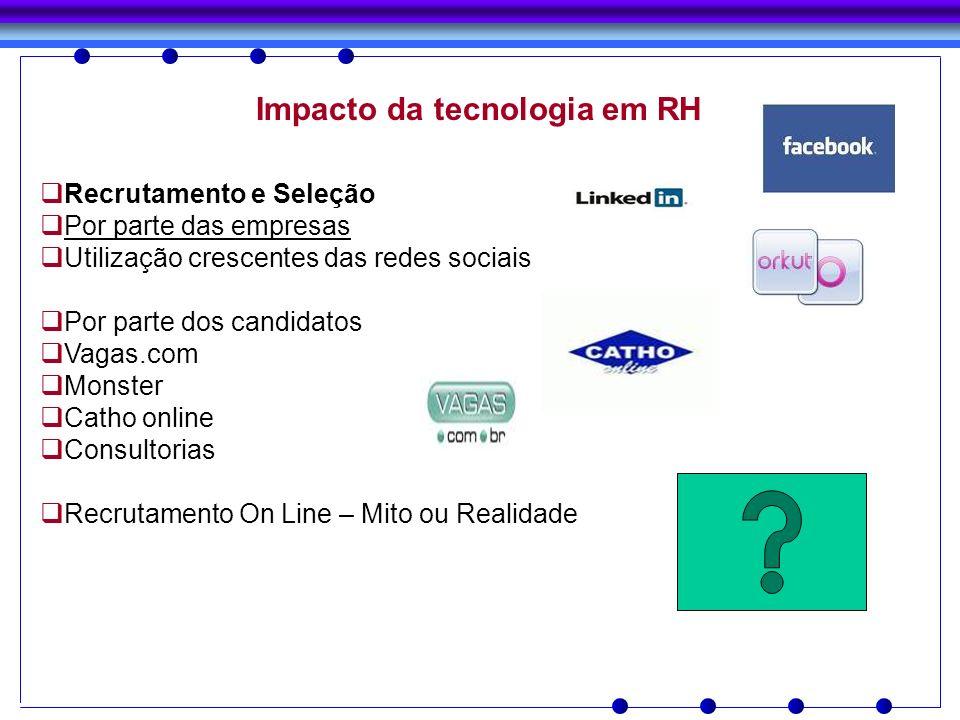 Impacto da tecnologia em RH Recrutamento e Seleção Por parte das empresas Utilização crescentes das redes sociais Por parte dos candidatos Vagas.com M
