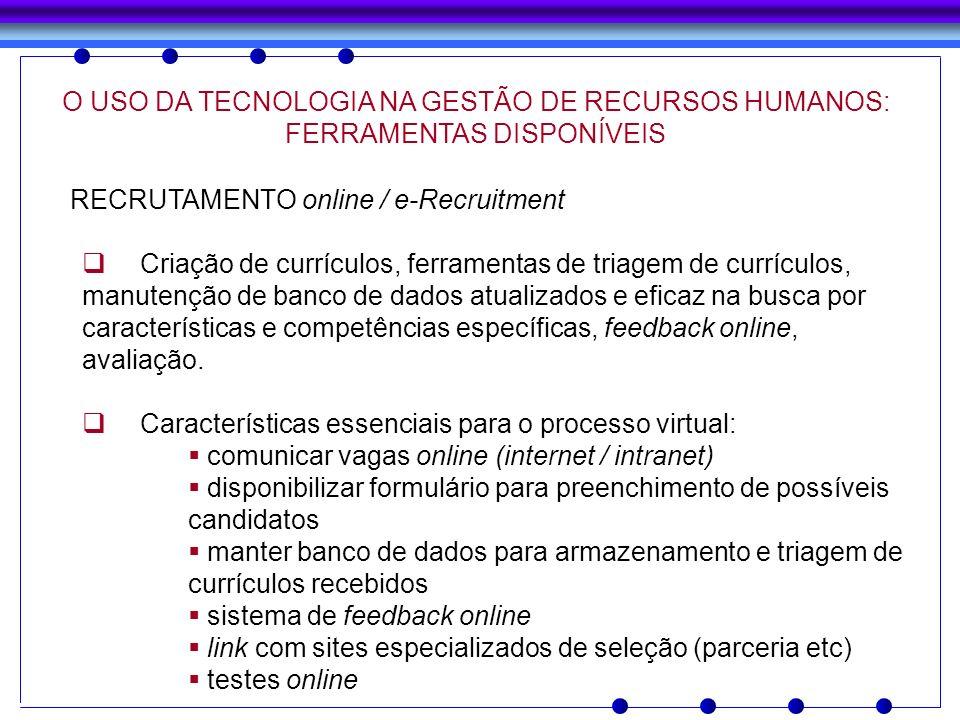 RECRUTAMENTO online / e-Recruitment Criação de currículos, ferramentas de triagem de currículos, manutenção de banco de dados atualizados e eficaz na