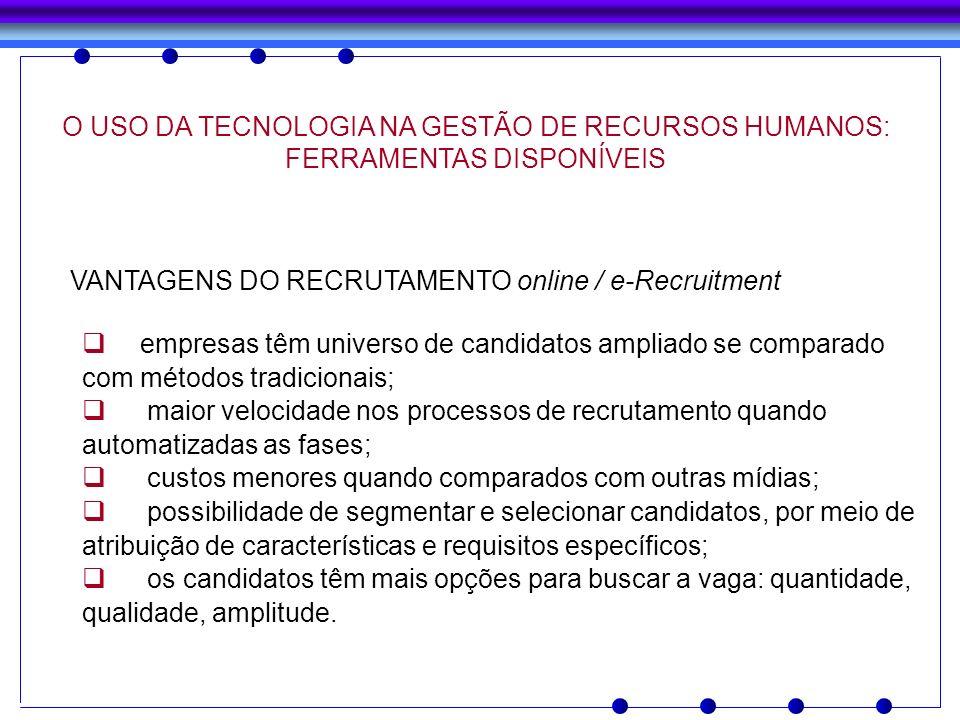 VANTAGENS DO RECRUTAMENTO online / e-Recruitment empresas têm universo de candidatos ampliado se comparado com métodos tradicionais; maior velocidade