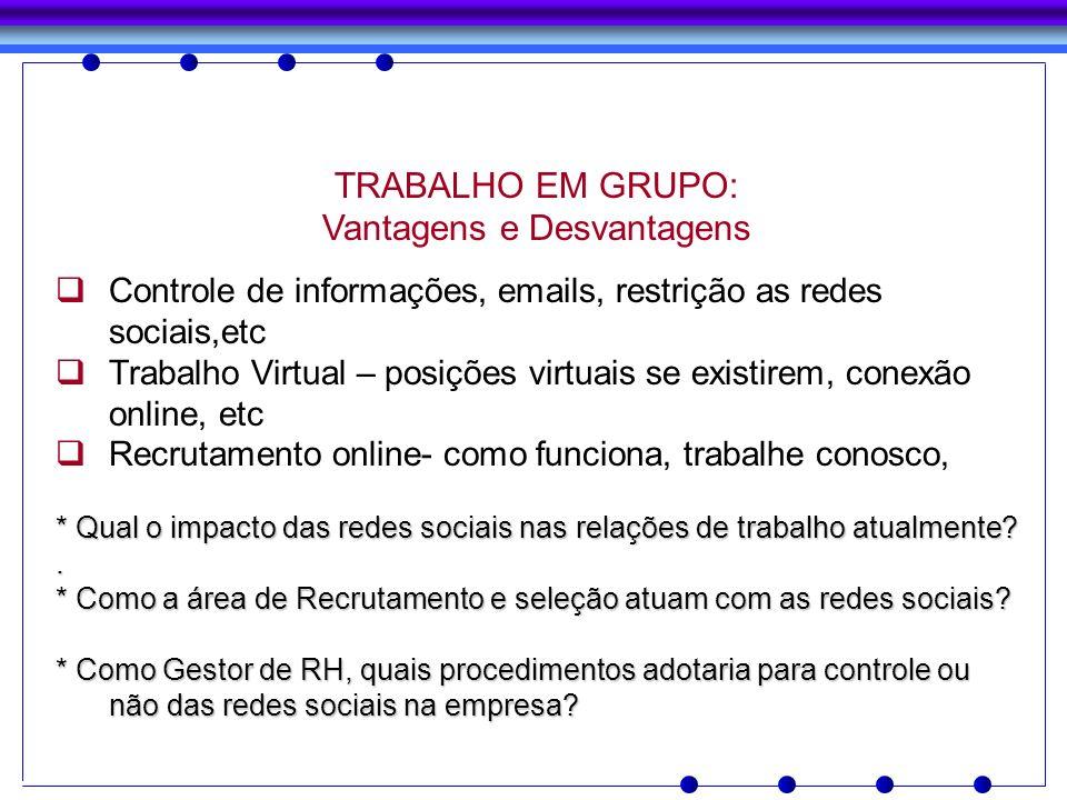 TRABALHO EM GRUPO: Vantagens e Desvantagens Controle de informações, emails, restrição as redes sociais,etc Trabalho Virtual – posições virtuais se ex