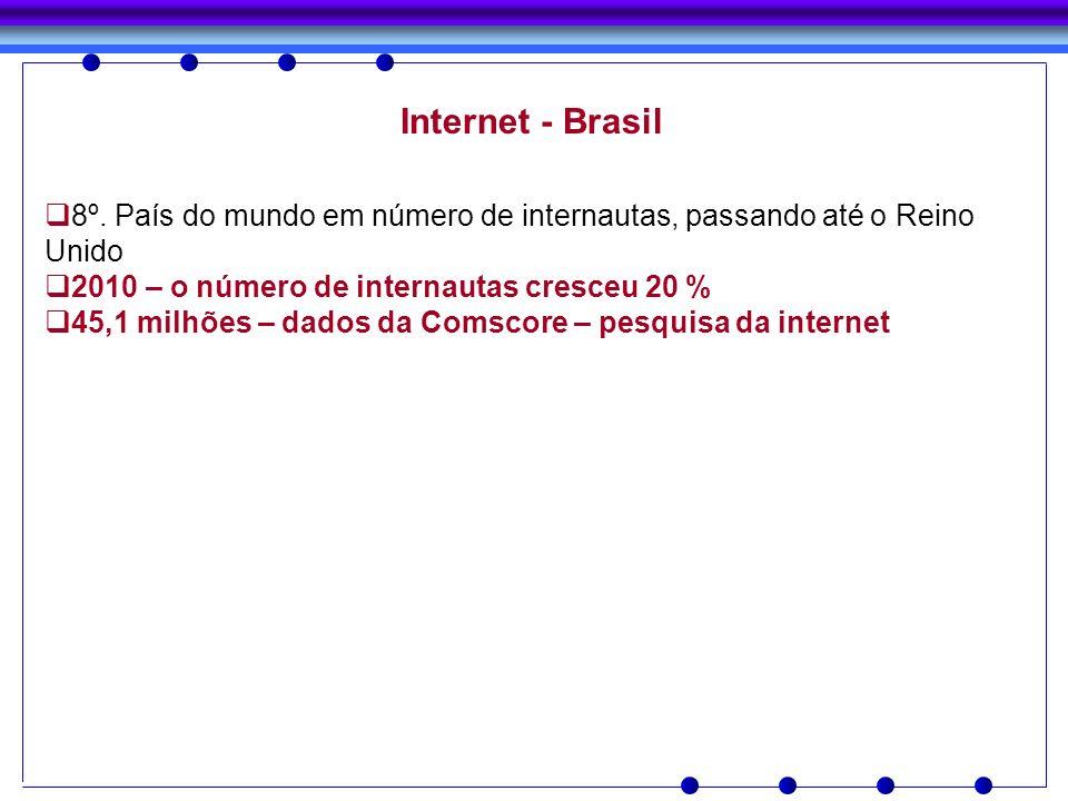 Internet - Brasil 8º. País do mundo em número de internautas, passando até o Reino Unido 2010 – o número de internautas cresceu 20 % 45,1 milhões – da