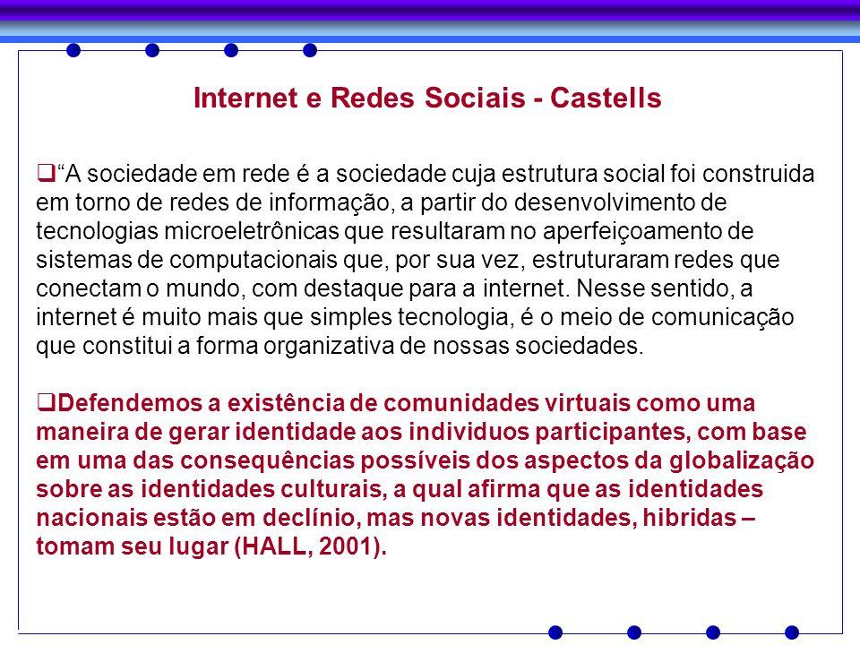 Internet e Redes Sociais - Castells A sociedade em rede é a sociedade cuja estrutura social foi construida em torno de redes de informação, a partir d