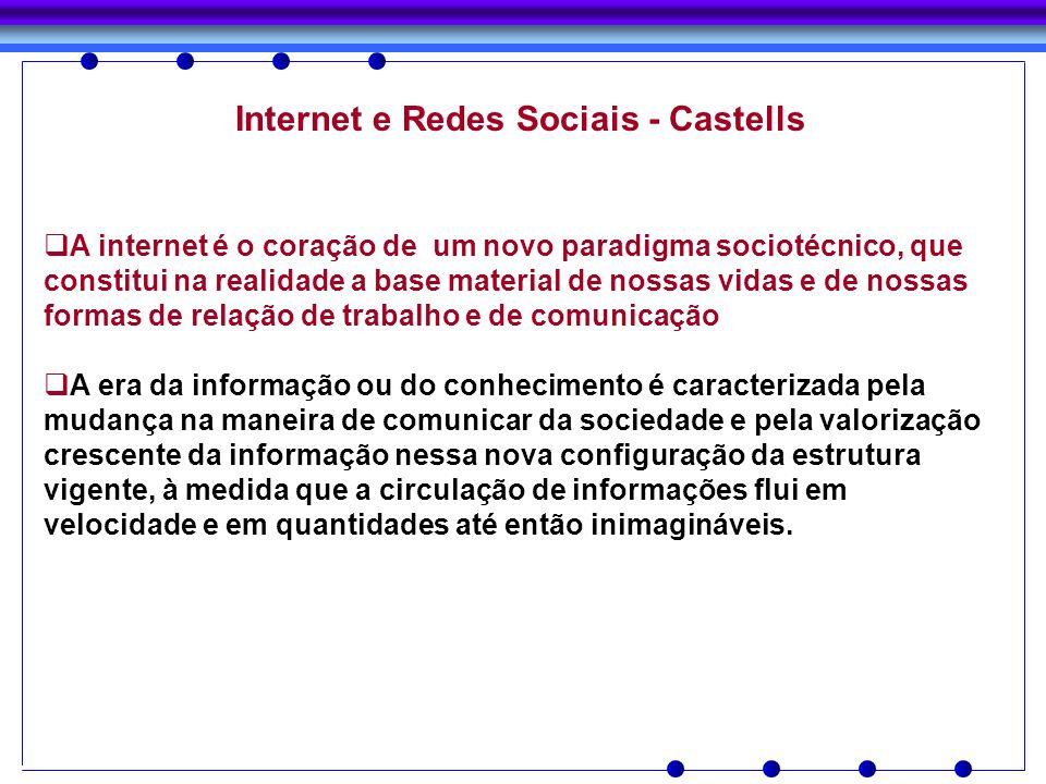 Internet e Redes Sociais - Castells A internet é o coração de um novo paradigma sociotécnico, que constitui na realidade a base material de nossas vid