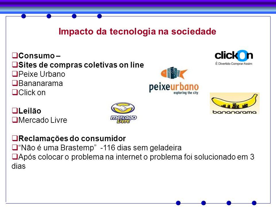 Impacto da tecnologia na sociedade Consumo – Sites de compras coletivas on line Peixe Urbano Bananarama Click on Leilão Mercado Livre Reclamações do c