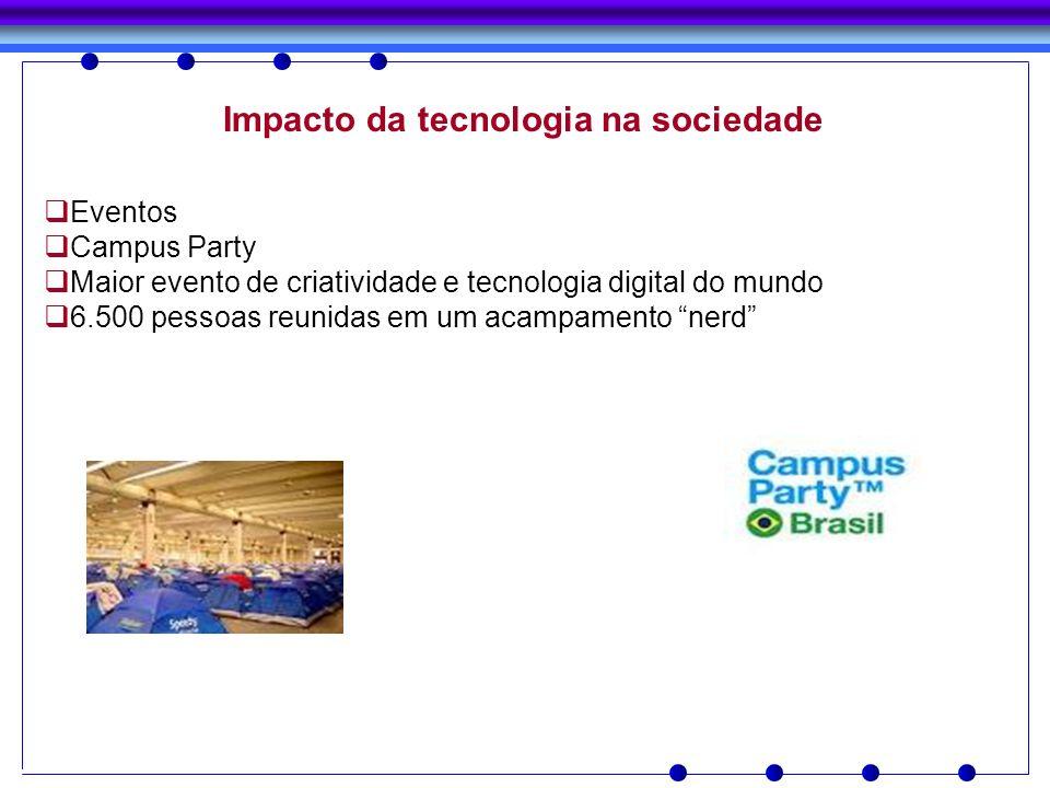 Impacto da tecnologia na sociedade Eventos Campus Party Maior evento de criatividade e tecnologia digital do mundo 6.500 pessoas reunidas em um acampa
