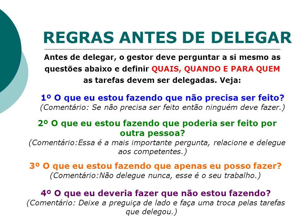 REGRAS ANTES DE DELEGAR Antes de delegar, o gestor deve perguntar a si mesmo as questões abaixo e definir QUAIS, QUANDO E PARA QUEM as tarefas devem s