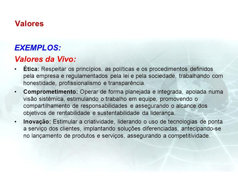 Valores EXEMPLOS: Valores da Vivo: Ética: Respeitar os princípios, as políticas e os procedimentos definidos pela empresa e regulamentados pela lei e