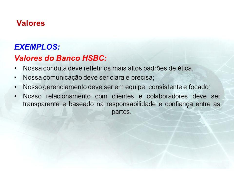 Valores EXEMPLOS: Valores do Banco HSBC: Nossa conduta deve refletir os mais altos padrões de ética; Nossa comunicação deve ser clara e precisa; Nosso