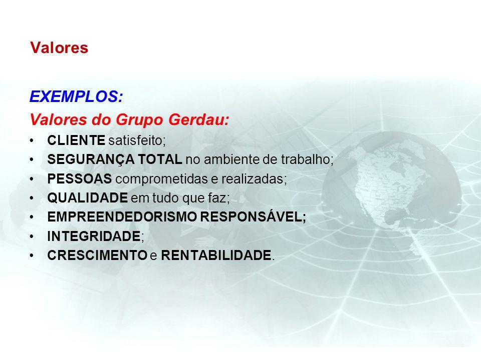 Valores EXEMPLOS: Valores do Grupo Gerdau: CLIENTE satisfeito; SEGURANÇA TOTAL no ambiente de trabalho; PESSOAS comprometidas e realizadas; QUALIDADE