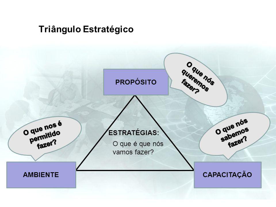 Triângulo Estratégico PROPÓSITO CAPACITAÇÃOAMBIENTE ESTRATÉGIAS: O que é que nós vamos fazer?