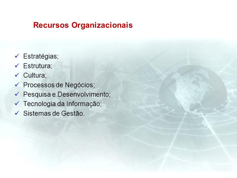Recursos Organizacionais Estratégias; Estrutura; Cultura; Processos de Negócios; Pesquisa e Desenvolvimento; Tecnologia da Informação; Sistemas de Ges