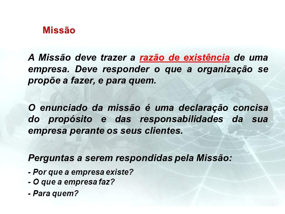 Missão A Missão deve trazer a razão de existência de uma empresa. Deve responder o que a organização se propõe a fazer, e para quem. O enunciado da mi