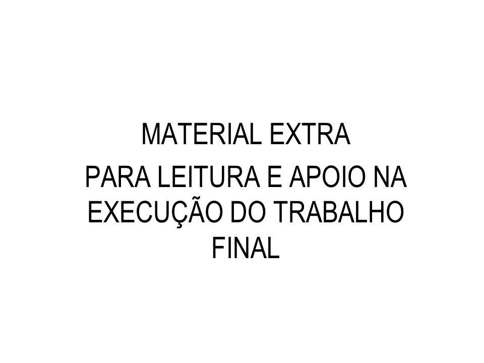 MATERIAL EXTRA PARA LEITURA E APOIO NA EXECUÇÃO DO TRABALHO FINAL