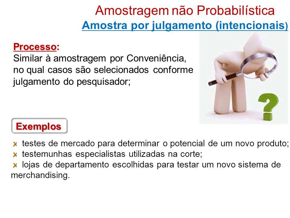 Processo: Similar à amostragem por Conveniência, no qual casos são selecionados conforme julgamento do pesquisador; testes de mercado para determinar