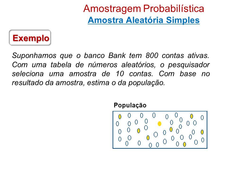 Suponhamos que o banco Bank tem 800 contas ativas. Com uma tabela de números aleatórios, o pesquisador seleciona uma amostra de 10 contas. Com base no