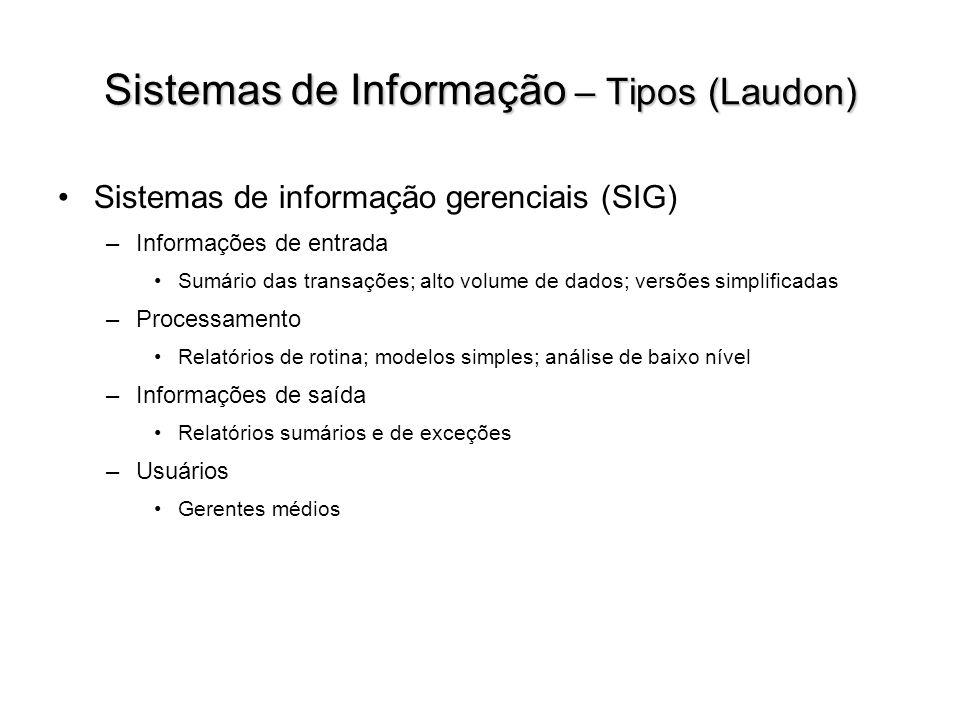 Sistemas de Informação – Tipos (Laudon) Sistemas de informação gerenciais (SIG) –Informações de entrada Sumário das transações; alto volume de dados;