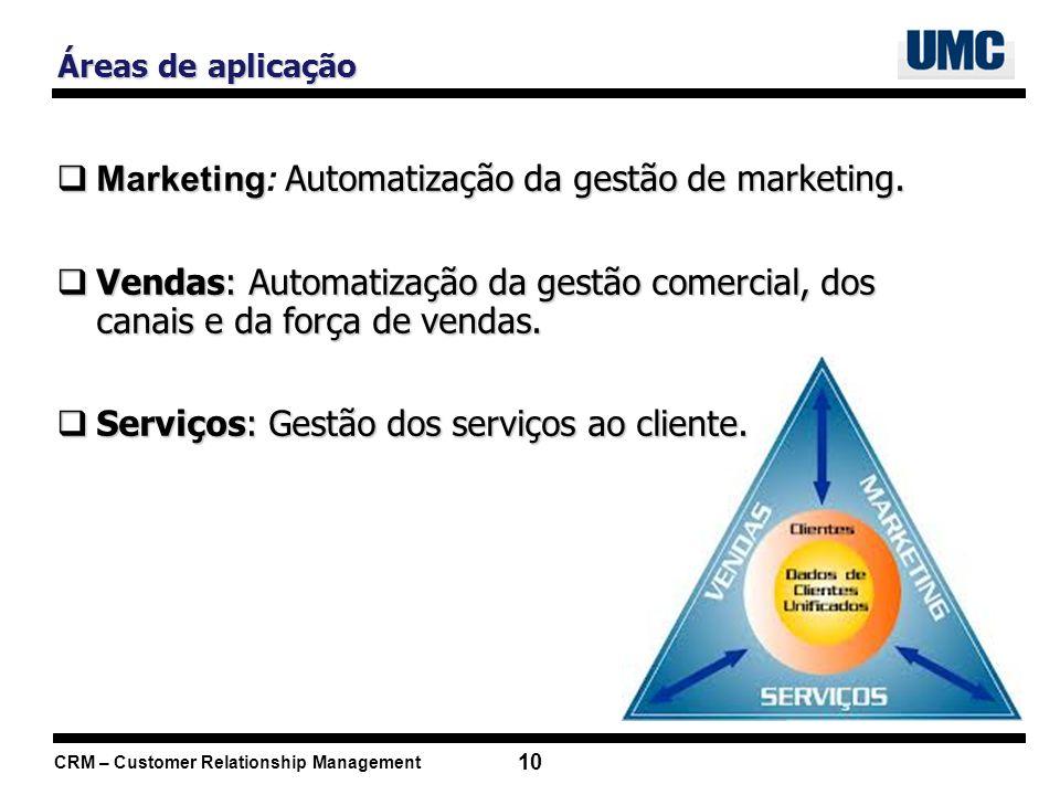 CRM – Customer Relationship Management 10 Marketing Automatização da gestão de marketing. Marketing: Automatização da gestão de marketing. Vendas: Aut