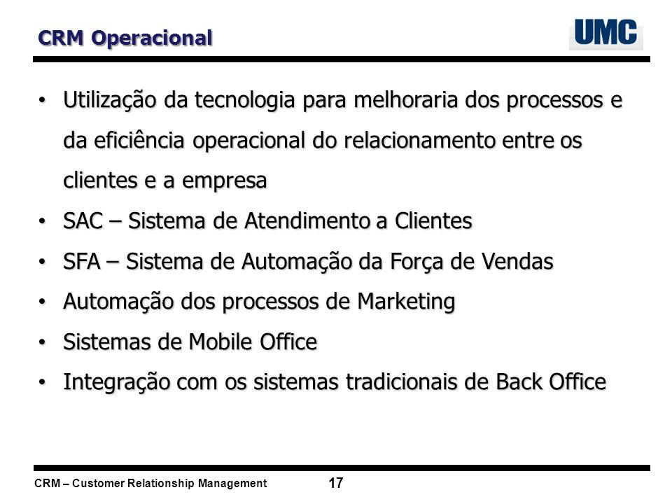CRM – Customer Relationship Management 17 CRM Operacional Utilização da tecnologia para melhoraria dos processos e da eficiência operacional do relaci