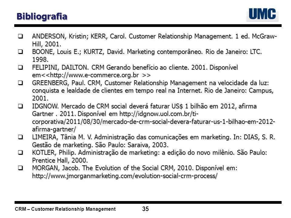 CRM – Customer Relationship Management 35 Bibliografia ANDERSON, Kristin; KERR, Carol. Customer Relationship Management. 1 ed. McGraw- Hill, 2001. AND