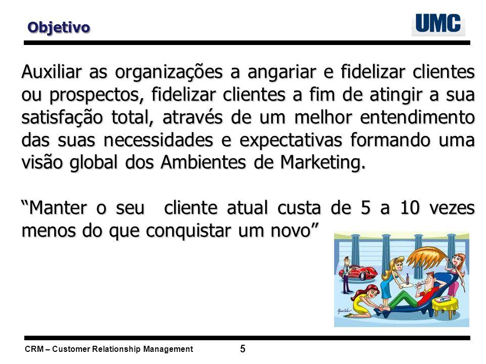 CRM – Customer Relationship Management 16 Dimensões do CRM 1.Operacional 2.Analítica 3.Colaborativa 4.Social