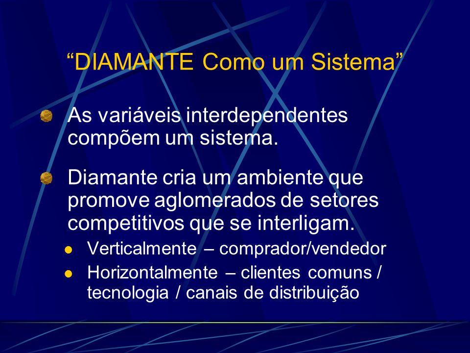 DIAMANTE Como um Sistema As variáveis interdependentes compõem um sistema. Diamante cria um ambiente que promove aglomerados de setores competitivos q