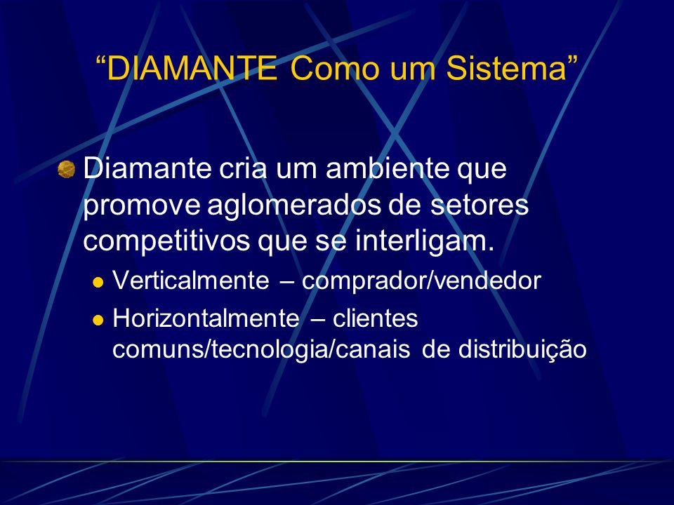 DIAMANTE Como um Sistema Diamante cria um ambiente que promove aglomerados de setores competitivos que se interligam. Verticalmente – comprador/vended