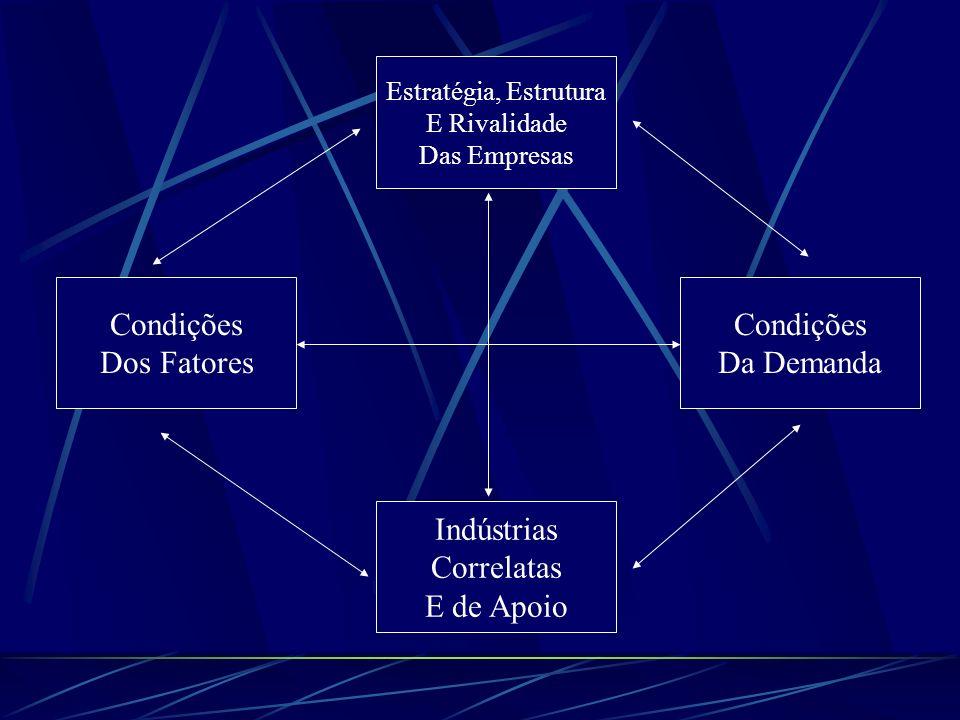 Influência sobre a Criação de Fatores Grupo de rivais internos estimula a criação de fatores; Desafios nacionais identificados estimulam a criação de fatores; Demanda interna influi nas prioridades para investimento na criação de fatores; Indústrias correlatas e de apoio criam ou estimulam a criação de fatores transferíveis.