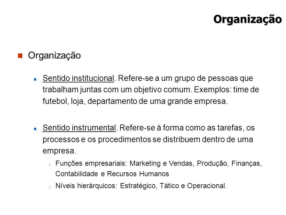 Organização Organização Sentido institucional. Refere-se a um grupo de pessoas que trabalham juntas com um objetivo comum. Exemplos: time de futebol,
