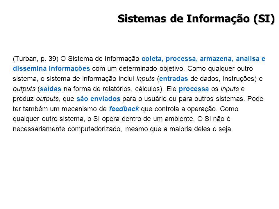 Sistemas de Informação (SI) (Turban, p. 39) O Sistema de Informação coleta, processa, armazena, analisa e dissemina informações com um determinado obj