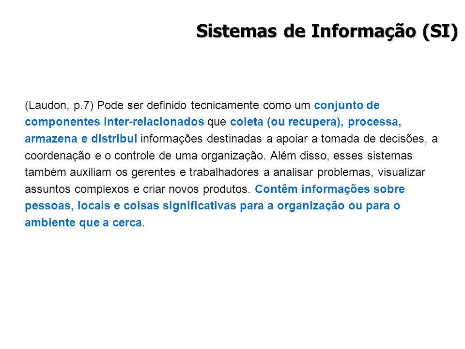 Sistemas de Informação (SI) (Laudon, p.7) Pode ser definido tecnicamente como um conjunto de componentes inter-relacionados que coleta (ou recupera),