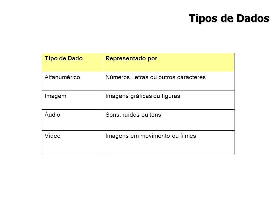 Tipos de Dados Tipo de DadoRepresentado por AlfanuméricoNúmeros, letras ou outros caracteres ImagemImagens gráficas ou figuras ÁudioSons, ruídos ou to