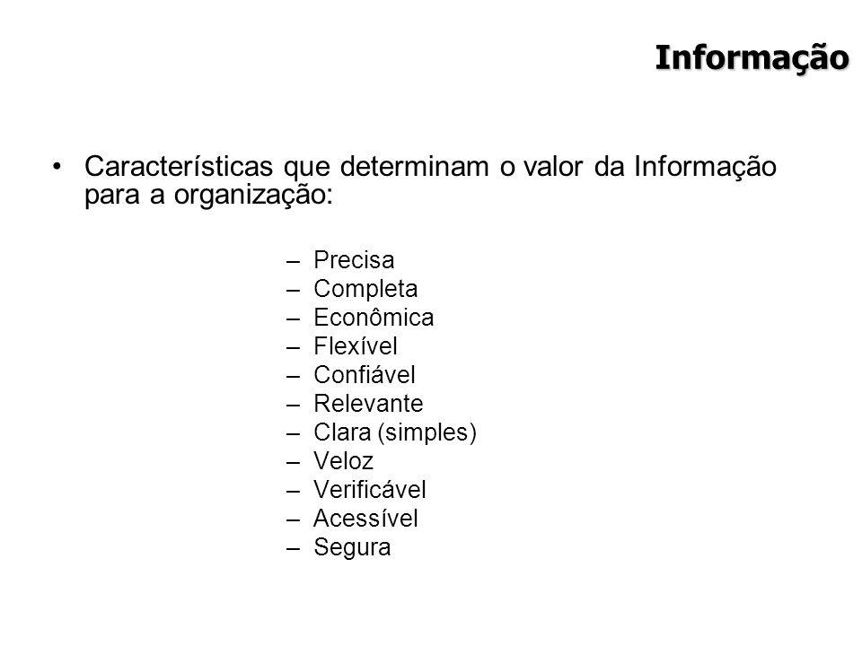 Informação Características que determinam o valor da Informação para a organização: –Precisa –Completa –Econômica –Flexível –Confiável –Relevante –Cla