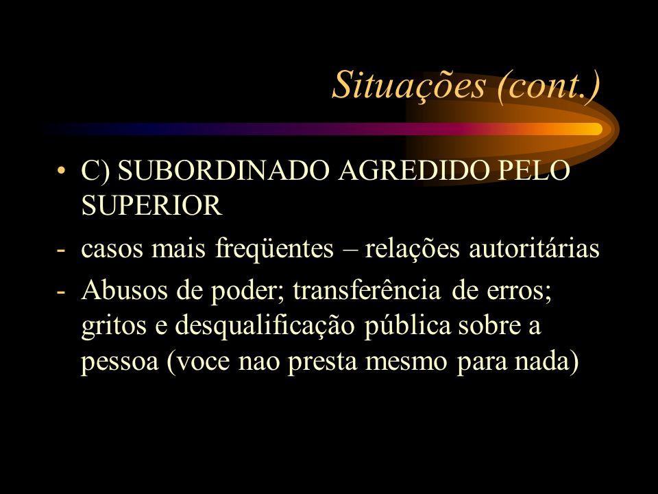 Situações (cont.) C) SUBORDINADO AGREDIDO PELO SUPERIOR -casos mais freqüentes – relações autoritárias -Abusos de poder; transferência de erros; grito