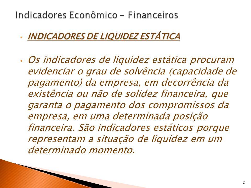 INDICADORES DE LIQUIDEZ ESTÁTICA INDICADORES DE LIQUIDEZ ESTÁTICA Os indicadores de liquidez estática procuram evidenciar o grau de solvência (capacid