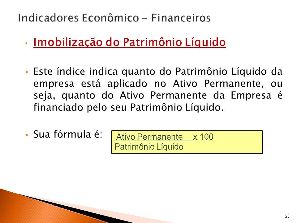 Imobilização do Patrimônio Líquido Este índice indica quanto do Patrimônio Líquido da empresa está aplicado no Ativo Permanente, ou seja, quanto do At